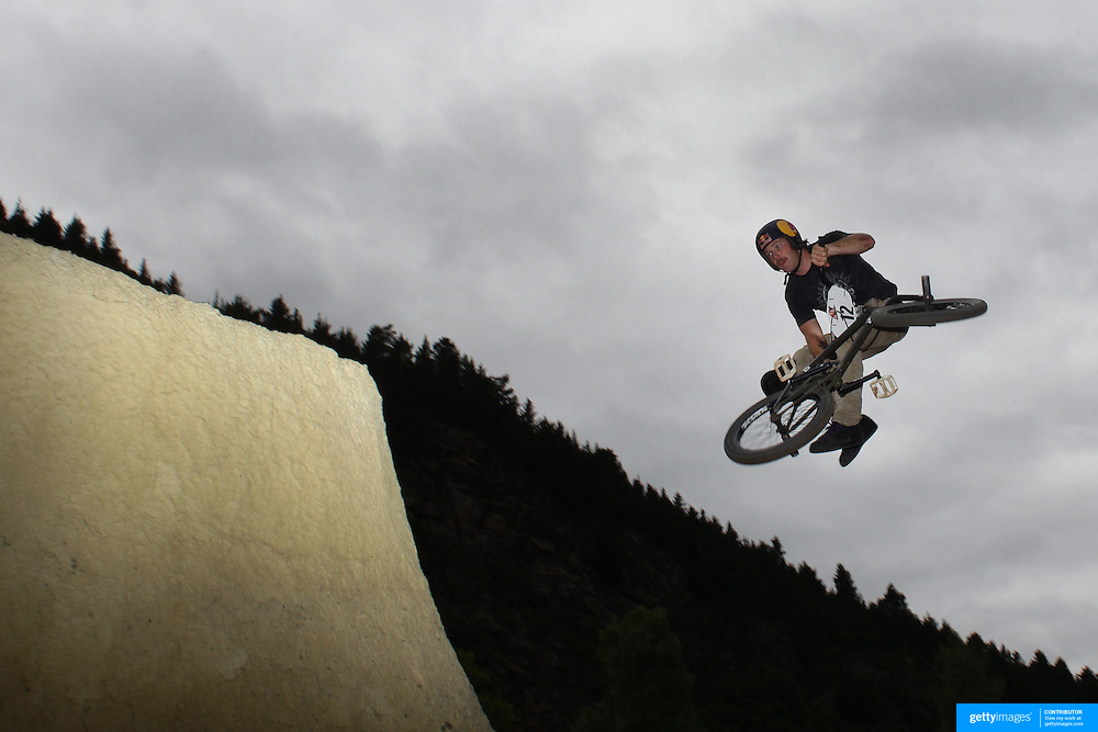 Mike Hucker Clark in action during the 'Red Bull Roast It' BMX competition with riders from around the globe competing at the Gorge Road Jump Park, Queenstown, South Island, New Zealand. 18th February 2012. Photo Tim Clayton