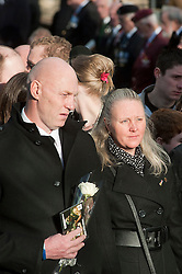 Matt Thorntons parents Michael and Susan follow thier sons coffin out of All Saints Church Darton Barnsley on Tuesday Morning.. Funeral of Private Matthew Adam Thornton, Territorial Army Soldier with 4th Battalion The Yorkshire Regiment who was killed on the 9th of November 2011 while deployed to Afghanistan with Support Company 1st Battalion the Yorkshire Regiment. .Private Thornton was killed just 6 days after his 28th Birthday and 2 days before Armistice Day. ..29 November 2011  Image © Paul David Drabble