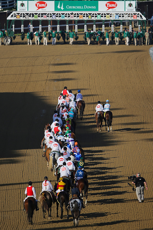LOUISVILLE, KY - MAY 7:  The field heads to the start gate prior to the 142nd running of the Kentucky Derby at Churchill Downs on May 7, 2016 in Louisville, Kentucky. (Photo by Michael Reaves/Getty Images)