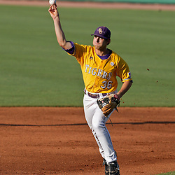 05 June 2009:  LSU short stop Austin Nola (36) makes a throw during game one of the NCAA baseball College World Series, Super Regional game between the Rice Owls and the LSU Tigers at Alex Box Stadium in Baton Rouge, Louisiana.