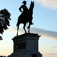 Silhouette of Monument to Major General John Reynolds, commander of the Union Army's 1st Corp. Killed on the first day of battle. Gettysburg.