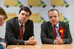 © Licensed to London News Pictures . 07/02/2014 . Wythenshawe , Manchester , UK .  Andy Burnham and Mike Kane . Andy Burnham , MP for Leigh and Shadow Secretary of State for Health , joins Labour candidate Mike Kane on the campaign trail , meeting NHS staff in Wythenshawe , ahead of the Wythenshawe and Sale East by-election , following the death of MP Paul Goggins .  . Photo credit : Joel Goodman/LNP