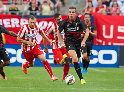 CHICAGO, USA - Sunday, July 27, 2014: Liverpool's Jordan Henderson in action against Olympiacos during the International Champions Cup Group B match at the Soldier Field Stadium on day seven of the club's USA Tour. (Pic by David Rawcliffe/Propaganda)