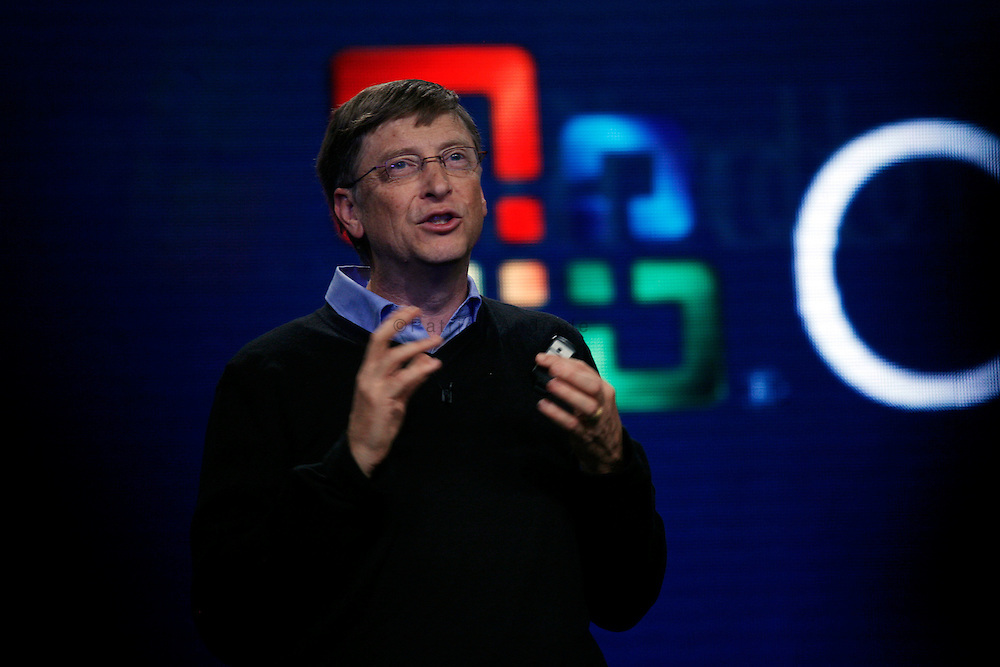 Microsoft co-founder and chairman Bill Gates announces the launch of the Microsoft Windows Vista operating system in New York. The new Windows Vista will be available to consumers worldwide. Gates is an American entrepreneur of the world's largest software company. Forbes magazine's list of The World's Billionaires has ranked him as the richest person on earth for the last thirteen consecutive years, with a current net worth of approximately $53 billion.