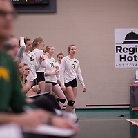4th year outside hitter Leah Sywanyk (3) of the Regina Cougars during Women's Volleyball home game on November 3 at Centre for Kinesiology, Health and Sport. Credit: Arthur Ward/Arthur Images