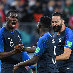 Paul Pogba, Samuel Umtiti and Adil Rami of France celebrates during the Semi Final FIFA World Cup match between France and Belgium at Krestovsky Stadium on July 10, 2018 in Saint Petersburg, Russia. (Photo by Anthony Dibon/Icon Sport)