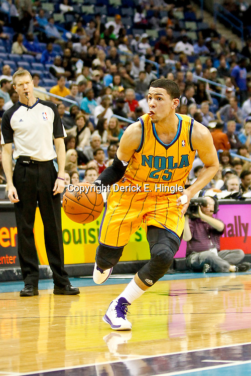 Dec 7, 2012; New Orleans, LA, USA; New Orleans Hornets shooting guard Austin Rivers (25) drives in against the Memphis Grizzlies during the second quarter of a game at the New Orleans Arena.  Mandatory Credit: Derick E. Hingle-USA TODAY Sports