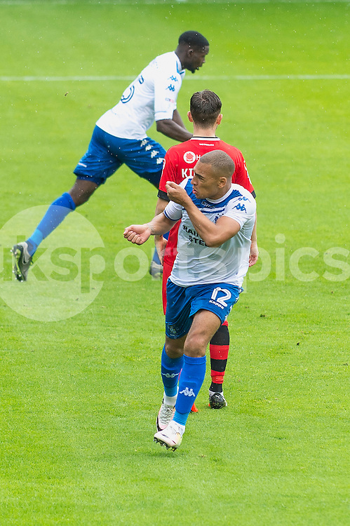 James Vaughan of Bury celebrates his goal during the EFL Sky Bet League 1 match between Walsall and Bury at the Banks's Stadium, Walsall, England on 27 August 2016. Photo by Darren Musgrove.