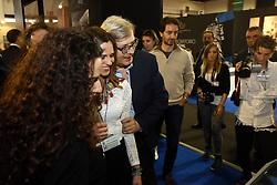 IL CRITICO D'ARTE VITTORIO SGARBI INVITATO AL SALONE DEL RESTAURO ALLA FIERA DI FERRARA SI E' DIMOSTRATO PIU' INTERESSATO ALLE RAGAZZE CHE ALLA MOSTRA<br /> FERRARA 27-03-2014<br /> FOTO FILIPPO RUBIN