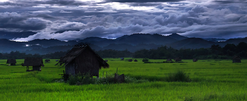Dusk over the rice fields in Luang Namtha, Laos.