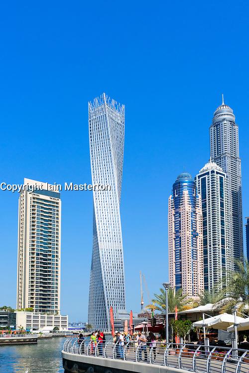 Skyscrapers and promenade at Marina district in Dubai United Arab Emirates