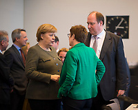 DEU, Deutschland, Germany, Berlin, 12.03.2019: Bundeskanzlerin Dr. Angela Merkel, CDU-Chefin Annegret Kramp-Karrenbauer und Kanzleramtsminister Helge Braun (CDU) vor Beginn der Fraktionssitzung der CDU/CSU.