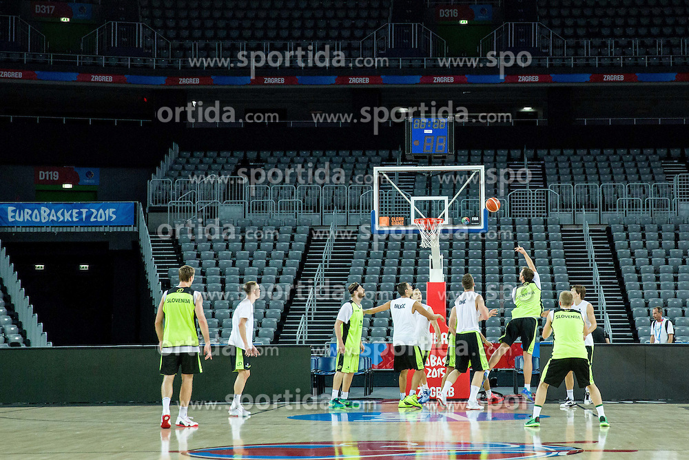 Players in action during practice session of Slovenia National Basketball Team 1 day prior to the FIBA Europe Eurobasket 2015, on September 4, 2015, in Arena Zagreb, Croatia. Photo by Vid Ponikvar / Sportida