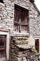 Ticino, Southern Switzerland. Moghegno. Rustico style building made from dry stone.