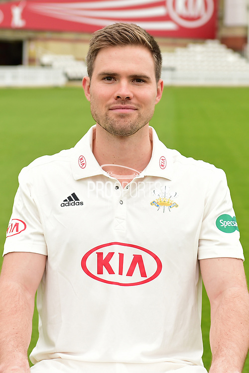 Mathew Pillans portrait during the Surrey CCC Photocall 2017 at the Oval, London, United Kingdom on 4 April 2017. Photo by Jon Bromley.