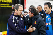 Picture by David Horn/Focus Images Ltd +44 7545 970036<br /> 14/12/2013<br /> Gianfranco Zola , Head Coach of Watford (right) and Stuart Gray , Caretaker Manager of Sheffield Wednesday (left) before the Sky Bet Championship match at Vicarage Road, Watford.