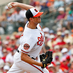 March 20, 2012; Sarasota, FL, USA; Baltimore Orioles starting pitcher Brian Matusz (17) throws against the Baltimore Orioles during a spring training game at Ed Smith Stadium.  Mandatory Credit: Derick E. Hingle-US PRESSWIRE