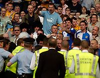 Photo. Jed Wee.<br /> Everton v Blackburn Rovers, FA Barclaycard Premiership, 24/04/2004.<br /> A Blackburn fan is arrested for inciting trouble during the game as the rest of the Blackburn fans confront the authorities.