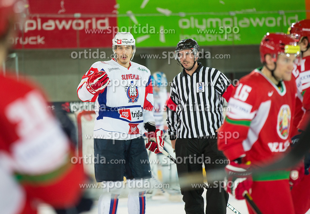 07.11.2013, Tiroler Wasserkraftarena, Innsbruck, AUT, IIHF, Euro Ice Hockey Challenge, Weisrussland vs Slovenien, im Bild Ziga Pavlin (SLO) // during the IIHF Euro Ice Hockey Challenge match between Belarus and Slovenia at the Tiroler Wasserkraftarena, Innsbruck, Austria on 2012/11/07. EXPA Pictures © 2013, PhotoCredit: EXPA/ Johann Groder