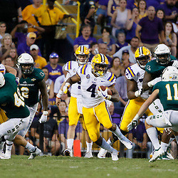 Sep 8, 2018; Baton Rouge, LA, USA; LSU Tigers running back Nick Brossette (4) runs against the Southeastern Louisiana Lions during the second quarter of a game at Tiger Stadium. Mandatory Credit: Derick E. Hingle-USA TODAY Sports