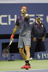 September 6, 2017 - New York City, New York, United States - Juan Martin del Potro of Argentina serves a ball against Roger Federer of Switzerland during their Men's Singles Quarterfinal match on Day Ten of the 2017 US Open at the USTA Billie Jean King National Tennis Center on September 6, 2017 in the Flushing neighborhood of the Queens borough of New York City. (Credit Image: © Foto Olimpik/NurPhoto via ZUMA Press)