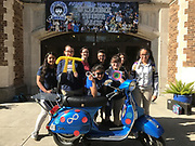 The 2013 Stella Automatic scooter was designed by the Hamilton SLC autism class with variations of mathematics included by Ms. Burkholder's math classes. It was put together with the help of Ms. Hernandez's art students.