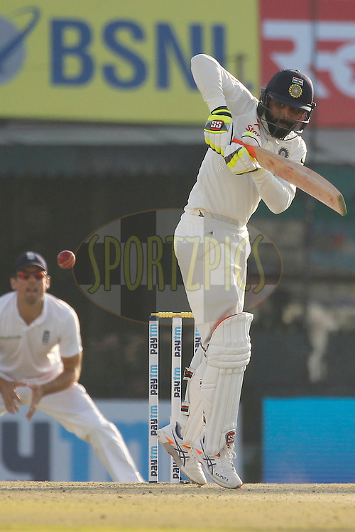 Ravindra Jadeja of India bats during day 2 of the third test match between India and England held at the Punjab Cricket Association IS Bindra Stadium, Mohali on the 27th November 2016.<br /> <br /> Photo by: Deepak Malik/ BCCI/ SPORTZPICS