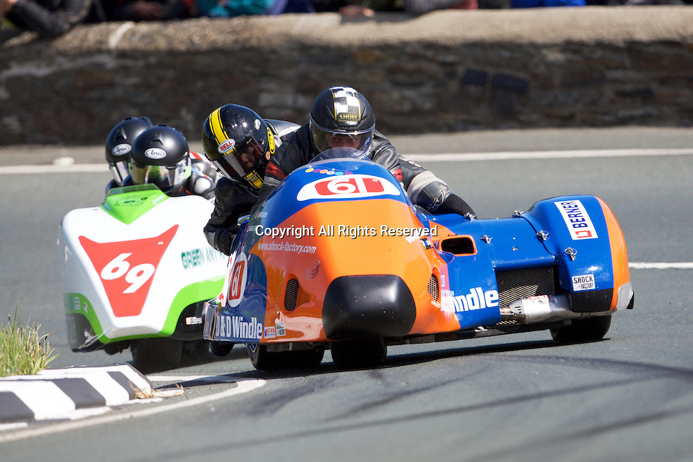 08.06.2015. Douglas, Isle of Man. 2015 Isle of Man TT Races. Lionel Mansuy and Melanie Farnie in action during the TT Sidecar race.