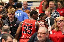 Fred Thomas of Bristol Flyers thanking the support at the end of the match - Photo mandatory by-line: Arron Gent/JMP - 28/04/2019 - BASKETBALL - Surrey Sports Park - Guildford, England - Surrey Scorchers v Bristol Flyers - British Basketball League Championship