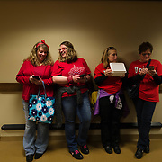 From left, Deana Bolen, her daughter Lindsay, Sarah Fink and Melena Dolin take a break in the basement area of the capitol in Charleston, W.V., on Monday, March 05, 2018; the eighth day of statewide school closures.