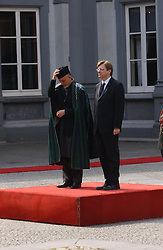 BRUSSELS, BELGIUM - MAY-11-2005 - Hamid Karzai , President of Afghanistan meets with Guy Verhofstadt , Prime Minister of Belgium at the Egmont Palace in Brussels. (PHOTO © JOCK FISTICK)..<br />