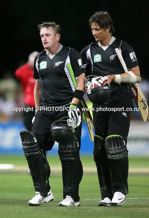 Scott Styris and Shane Bond celebrate the winning runs. New Zealand Black Caps v Australia. 1st ODI, Chappell-Hadlee Trophy Series. McLean Park, Napier. Wednesday 03 March 2010  Photo: John Cowpland/PHOTOSPORT