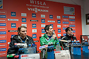(L) Rune Velta of Norway & (C) Anders Bardal of Norway & (R) Richard Freitag of Germany while press conference during FIS World Cup Ski Jumping in Wisla...Poland, Wisla, January 09, 2013...Picture also available in RAW (NEF) or TIFF format on special request...For editorial use only. Any commercial or promotional use requires permission...Photo by © Adam Nurkiewicz / Mediasport