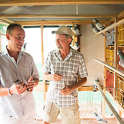Mark Evans and partner John Marles look at a selection of their racing pigeons in the loft in Tampa, Fl., on Friday, November 22, 2013. Photo by David Stephenson