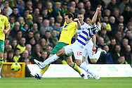 Picture by Paul Chesterton/Focus Images Ltd.  07904 640267.26/11/11.Andrew Crofts of Norwich and Alejandro Faurlín of QPR in action during the Barclays Premier League match at Carrow Road Stadium, Norwich.