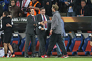 Sevilla Manager Unai Emery and Liverpool Manager Jurgen Klopp  shake hands at the end during the Europa League Final match between Liverpool and Sevilla at St Jakob-Park, Basel, Switzerland on 18 May 2016. Photo by Phil Duncan.