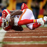 Kansas City Chiefs wide receiver Jeremy Maclin (19) caught an 11-yard touchdown pass in the first quarter against the Cleveland Browns on Sunday, December 27, 2015 at Arrowhead Stadium in Kansas City, Mo.