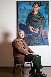 Edinburgh's Open Eye Gallery presents an exhibition of portraits by Alexander Moffat OBE RSA timed to coincide with the publication of his monograph, A View of the Nation (Luath Press). With text by Bill Hare, the book charts Moffat's eminent career as a portraitist of the greats of modern Scottish culture. The exhibition includes portraits of poets involved in Hugh MacDiarmid's Scottish Renaissance as well as renowned Scottish artists Alasdair Gray, Adrian Wiszniewski, Peter Howson and Ken Currie.<br /> <br /> The exhibition runs from 10 January 2018 to 29 January 2018.<br /> <br /> Pictured: Alexander (Sandy) Moffat with his 1987 painting of the artist Henry Kondracki
