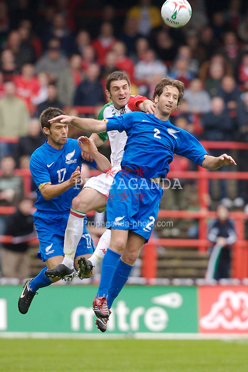 Wrexham, Wales - Saturday, May 26, 2007: Wales' Sam Ricketts and New Zealand's Jeff Campbell (L) and Duncan Oughton during the International Friendly match at the Racecourse Ground. (Pic by David Rawcliffe/Propaganda)