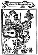 Richard I (1157-99) Coeur de Lion (Lionheart), king of England from 1189. From metrical romance 'Richard Coeur de Lion' printed by Wynkyn de Worde (dc1535), London, 1528. Woodcut showing Richard in armour mounted on caparisoned horse.