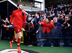 LONDON, ENGLAND - Sunday, March 17, 2019: Liverpool's Adam Lallana runs out for the the pre-match warm-up before the FA Premier League match between Fulham FC and Liverpool FC at Craven Cottage. (Pic by David Rawcliffe/Propaganda)
