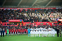 Football - 2016 / 2017 Premier League - Swansea City vs. Manchester United<br /> <br /> Teams line up for a minutes silence for remembrance day  at the Liberty Stadium.<br /> <br /> COLORSPORT/WINSTON BYNORTH