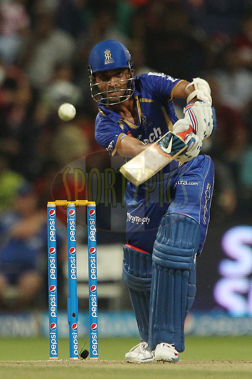Ajinkya Rahane of the Rajatshan Royals during match 19 of the Pepsi Indian Premier League 2014 Season between The Kolkata Knight Riders and the Rajasthan Royals held at the Sheikh Zayed Stadium, Abu Dhabi, United Arab Emirates on the 29th April 2014<br /> <br /> Photo by Ron Gaunt / IPL / SPORTZPICS