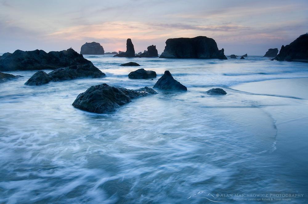 Sunset on Bandon Beach and Bandon Pinnacles, Bandon Oregon