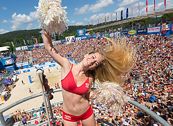31.07.2015, Strandbad, Klagenfurt, AUT, A1 Beachvolleyball EM 2015, im Bild die Beach Girls // during of the A1 Beachvolleyball European Championship at the Strandbad Klagenfurt, Austria on 2015/07/31. EXPA Pictures © 2015, EXPA Pictures © 2015, PhotoCredit: EXPA/ Mag. Gert Steinthaler