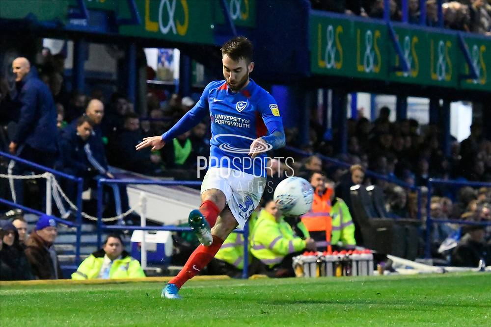 Ben Close (33) of Portsmouth crosses the ball during the EFL Sky Bet League 1 match between Portsmouth and Ipswich Town at Fratton Park, Portsmouth, England on 21 December 2019.
