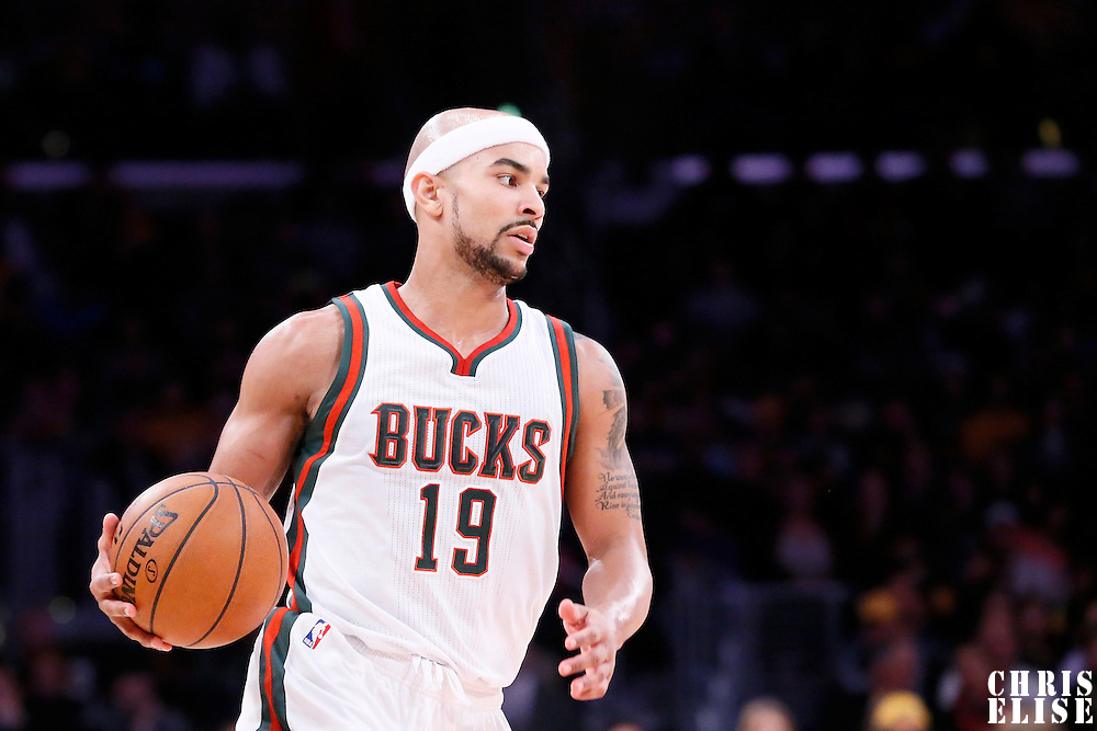 27 February 2015: Milwaukee Bucks guard Jerryd Bayless (19) brings the ball up court during the Los Angeles Lakers 101-93 victory over the Milwaukee Bucks, at the Staples Center, Los Angeles, California, USA.