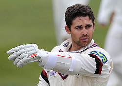 Somerset's Johann Myburgh - Photo mandatory by-line: Harry Trump/JMP - Mobile: 07966 386802 - 02/04/15 - SPORT - CRICKET - Pre Season Fixture - Day One - Somerset v Durham MCCU - Taunton Vale Cricket Ground, Somerset, England.