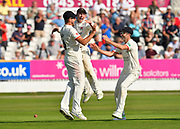 (Caption Correction) Tied match - Drama as Tom Bailey of Lancashire is jumped on by Josh Bohannon of Lancashire with Graham Onions of Lancashire after taking the catch to dismiss Jack Leach of Somerset to tie the macth during the Specsavers County Champ Div 1 match between Somerset County Cricket Club and Lancashire County Cricket Club at the Cooper Associates County Ground, Taunton, United Kingdom on 5 September 2018.
