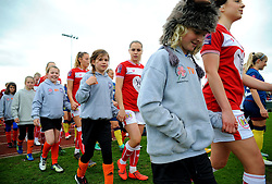Players walk out with mascots prior to kick-off- Mandatory by-line: Nizaam Jones/JMP - 28/04/2019 - FOOTBALL - Stoke Gifford Stadium - Bristol, England - Bristol City Women v West Ham United Women - FA Women's Super League 1